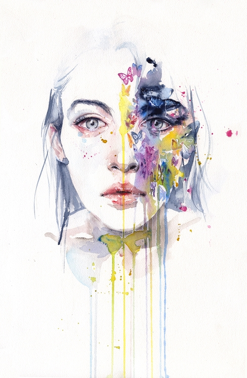 12-Miss-Bow-Tie-Silvia-Pelissero-agnes-cecile-Watercolor-and-Oil-Paintings-Fading-and-Appearing-www-designstack-co