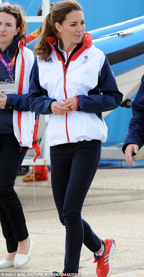 07c2c9ef8 She was also wearing her trusty navy Zara skinny jeans and new Adidas  Supernova  Glide  4 red running shoes. Finishing off her outfit The Duchess wore her  ...