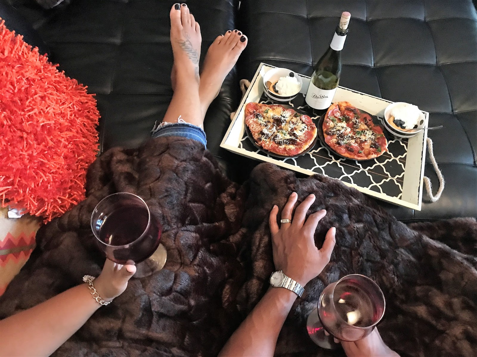 easy at home date night with homemade pizza wine and a movie bits