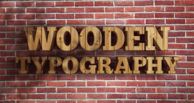 Create a realistic wooden 3D text image @ Webdesignerpad