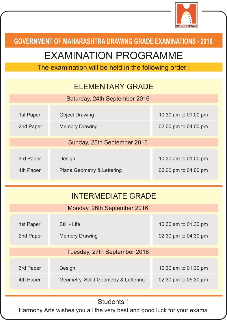 Harmony Arts Thane: Drawing Grade Exam Time Table - 2016