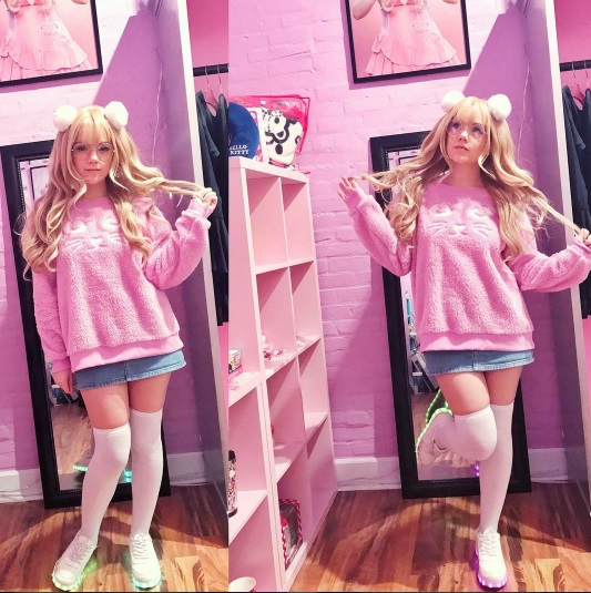 Instagram tempestpaige pink sweatshirt denim skirt outfit kawaii