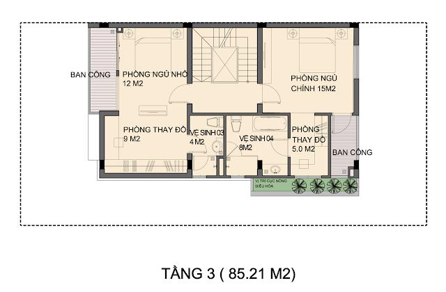 Mẫu thiết kế P1-4 biệt thự An Phú - Tầng 3