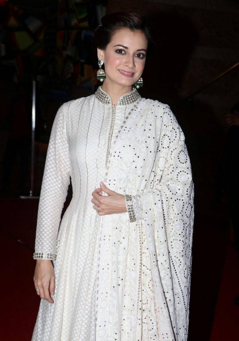 Indian Actress Dia Mirza Stills At Hope Charity Dinner Event In White Dress