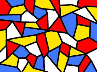 Mosaik mit Rot, Gelb, Blau und Weiß