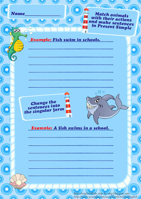 ocean animals vocabulary make sentences esl worksheet