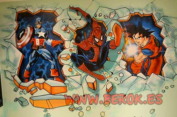 Graffiti Capitán América, Spiderman y Goku