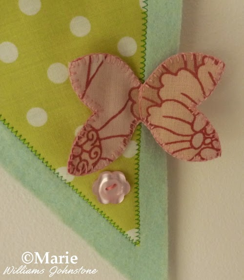 Butterfly detail on Spring pennant banner bunting