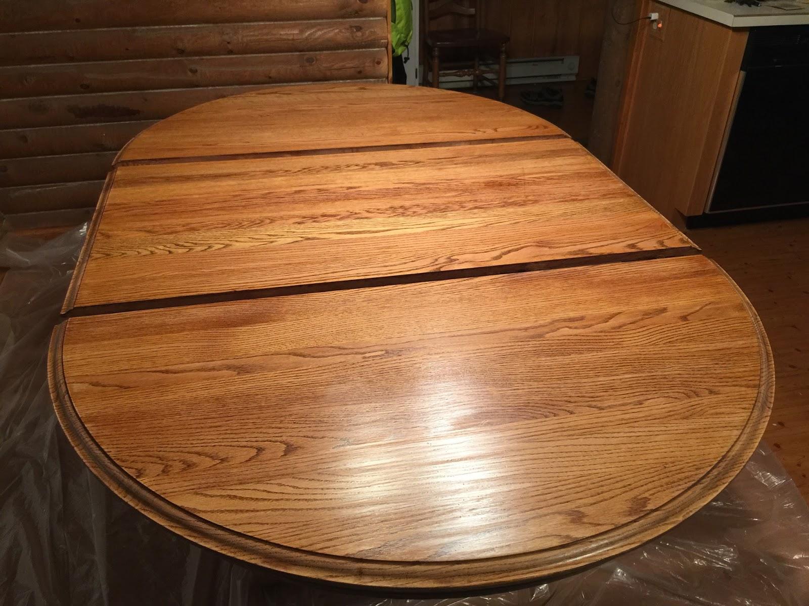 Eclectic breakfast refinishing an oak table top