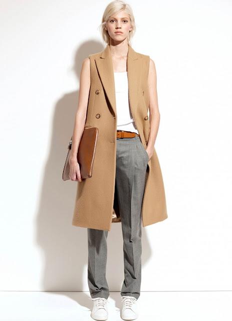 тренды осень 2015, кюлоты, пальто без рукавов, тушь для бровей