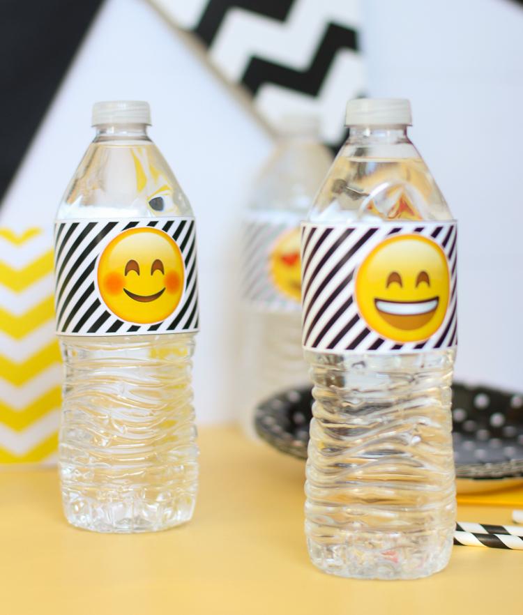 Free printable emoji themed water bottle wraps