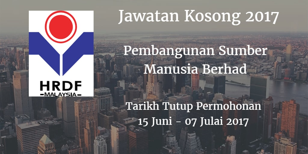 Jawatan Kosong HRDF 15 Juni - 07 Julai 2017