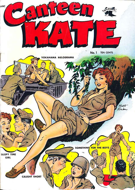 Canteen Kate v1 #1 st john 1950s golden age comic book cover art by Matt Baker