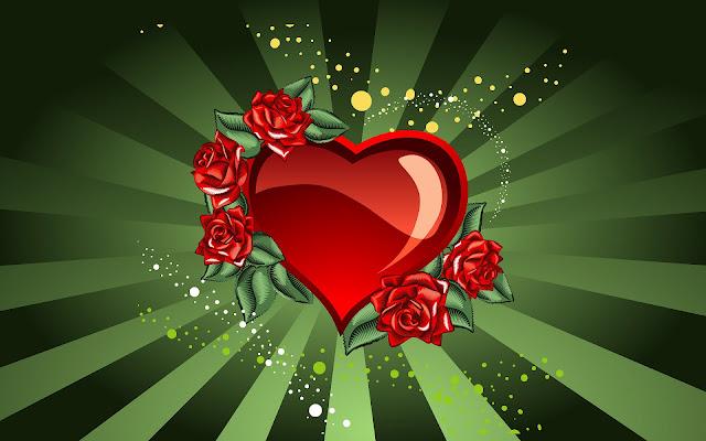 Rood liefdes hart met roosje