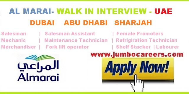 Al Marai Walk In Interview Dubai, Abu Dhabi , Sharjah 2018  