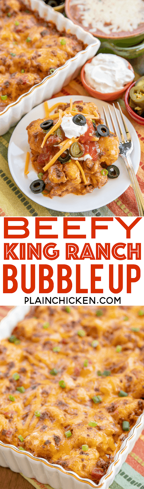 Beefy King Ranch Bubble Up - SO good!!! Ground beef, taco seasoning,  Velveeta cheese, diced tomatoes and green chiles, chicken soup tossed with chopped refrigerated biscuits and baked - use mild rotel if worried about the heat. OMG! SO easy and SO delicious! I wanted to lick my plate! #casserole #mexican #beef #taco #groundbeefrecipe