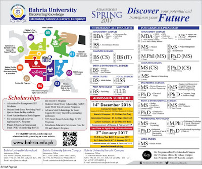 Bahria University Spring admissions 2017