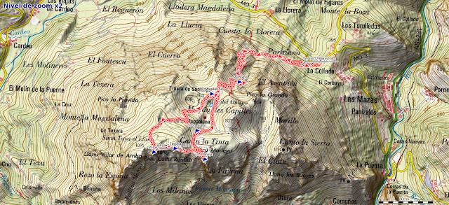 Mapa de la ruta al Monsacro