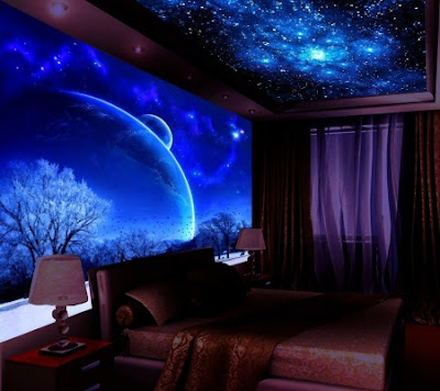 fluorescent 3D wallpaper images for bedroom wall and ceilings