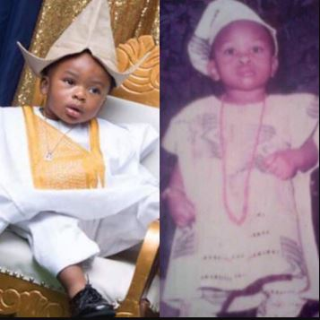Olakunle Churchill Shares Photos Of Himself As A Baby And His Son