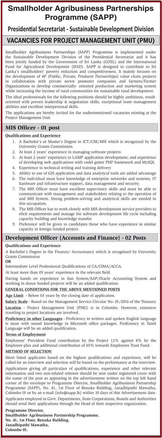 MIS Officer / Development Officer (Accounts and Finance)