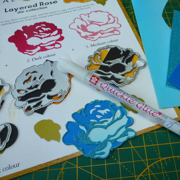 Altenew layered rose die set free with issue 174 Simply Cards and Papercraft magazine blue paper flower Quickie glue pen