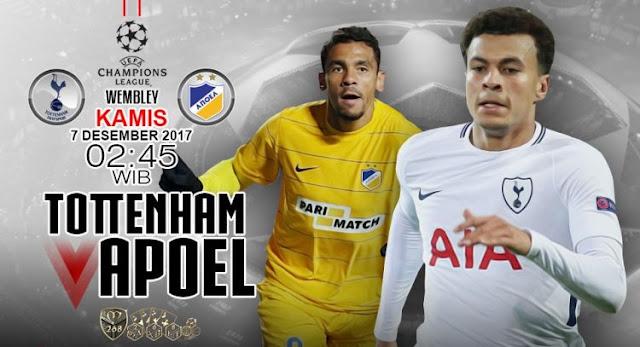 Prediksi Bola : Tottenham Hotspur Vs APOEL Nicosia , Kamis 07 Desember 2017 Pukul 02.45 WIB