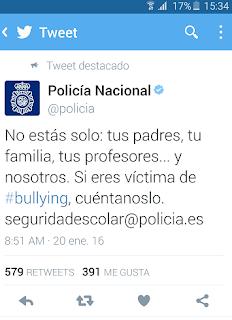 Tweet: No estás solo: tus padres, tu familia, tus profesores... y nosotros. Si eres víctima de bullying, cuéntanoslo seguidadescolar@policia.es