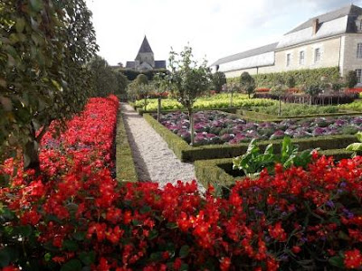 Looking towards the church from the gardens at chateau de Villandry in the Loire Valley