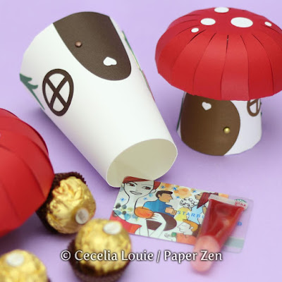 Paper Mushroom Gift Box SVG File for Cricut Explore Silhouette - Gift Card