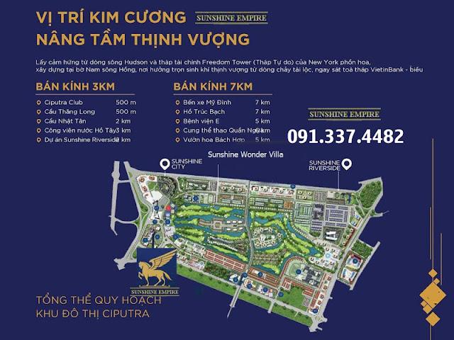 Vị trí dự án chung cư Sunshine Empire Ciputra Phạm Văn Đồng Hà Nội tower