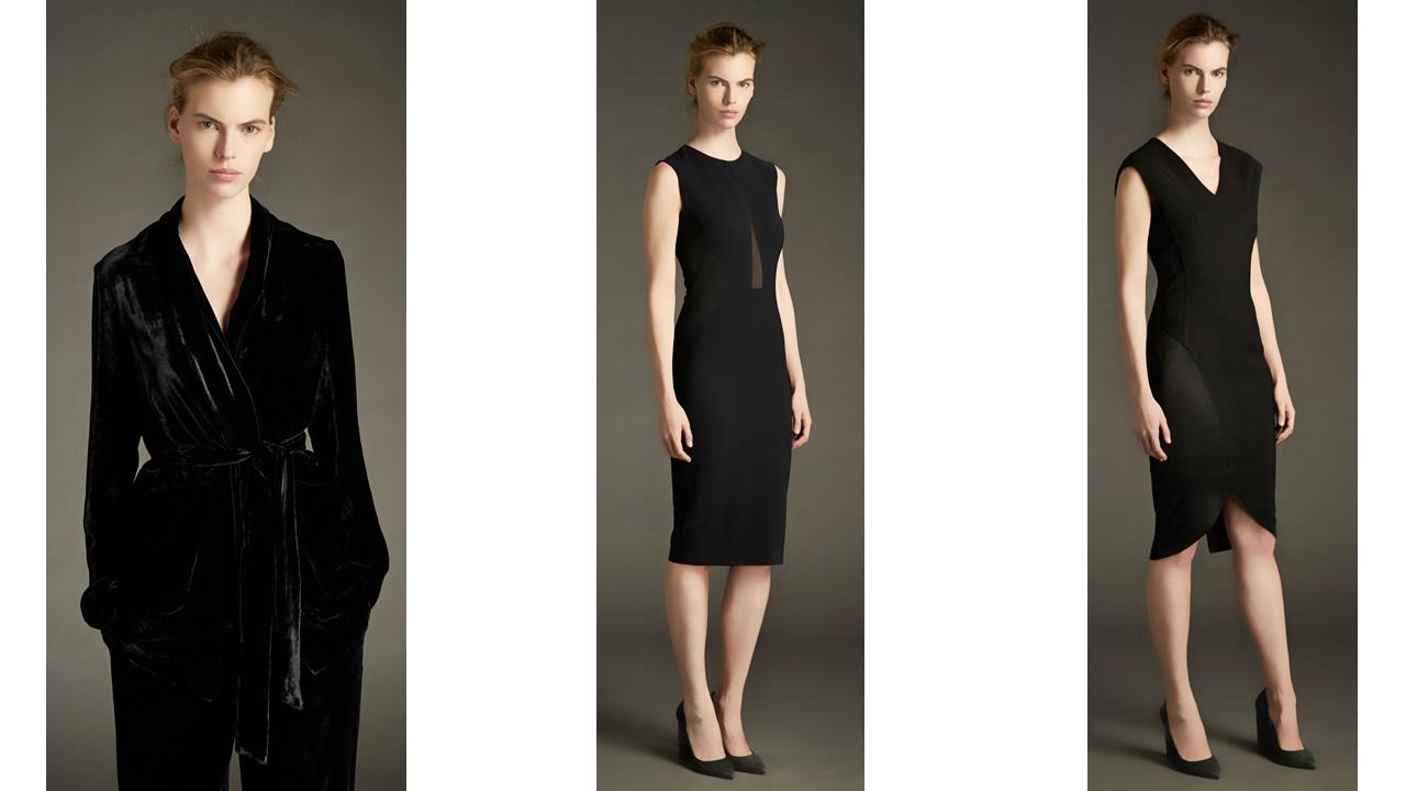 Per la sera velluto seta. Nero per il tailleur pantalone con giacca  vestaglia. Tubini neri con giochi di trasparenze e contrasti lucido opaco. 5b0a244b1b6