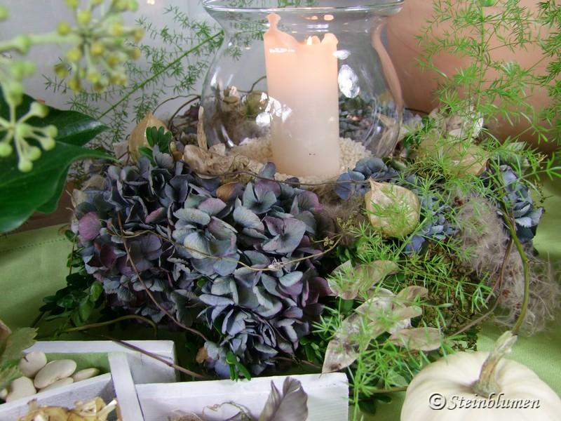 Herbstkranz mit Hortensien