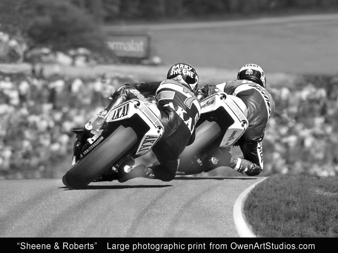 Barry Sheene and Kenny Roberts racing photo print from Owen Art Studios