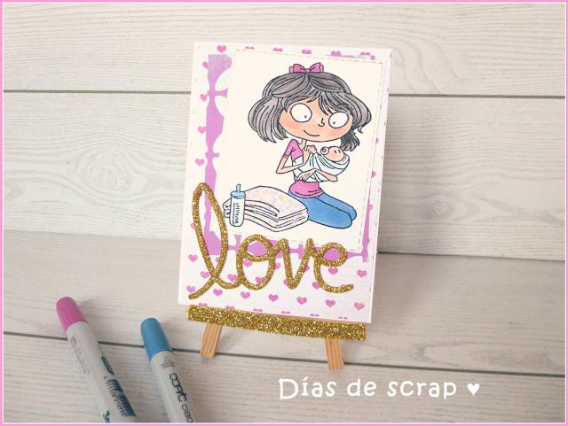 scrap postal love reto Copic España