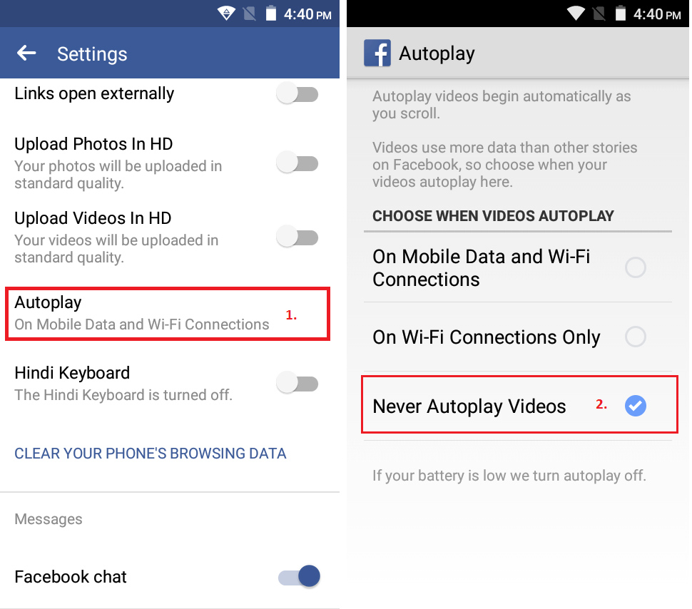 how to turn off auto video play on facebook android