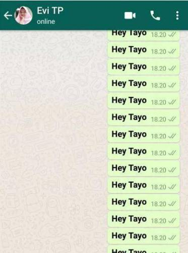 Contoh jahilin temen lewat bom chat whatsapp