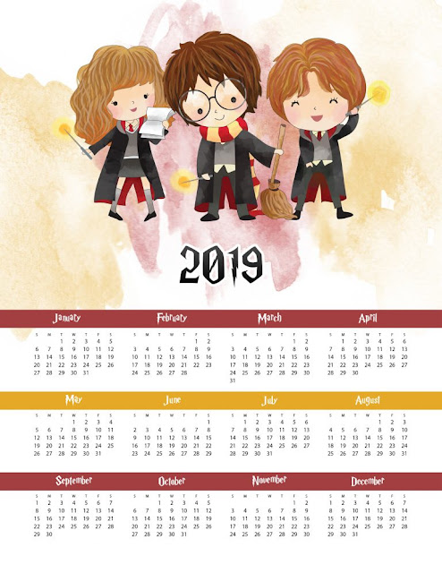 Harry Potter: Calendario 2019 para Imprimir Gratis.