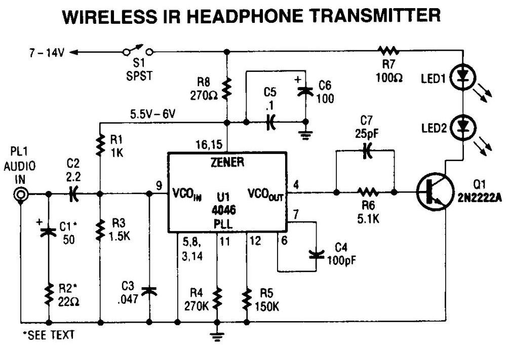 Wireless Transmitter for IR Headphone Circuit Diagram