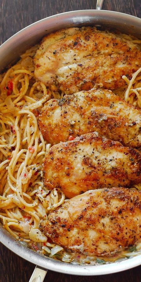 Chicken Pasta in Creamy White Wine Parmesan Cheese Sauce will remind
