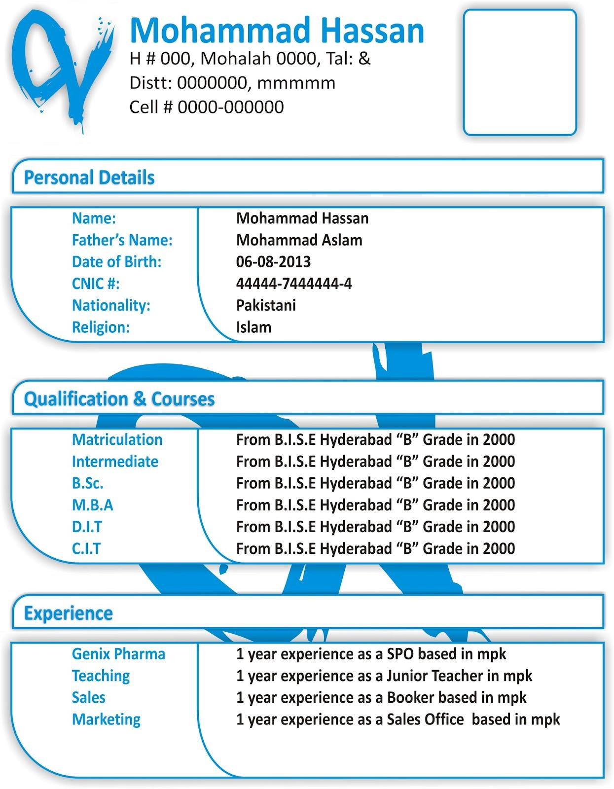 Curriculum Vitae Sample Latest Plks Tk