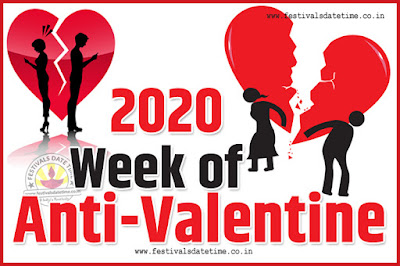 2020 Anti-Valentine Week List, 2020 Slap Day, Kick Day, Breakup Day Date Calendar