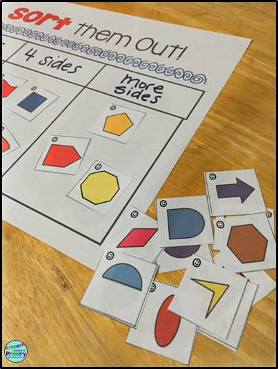 2D geometry centers with pattern blocks for first grade and second grade