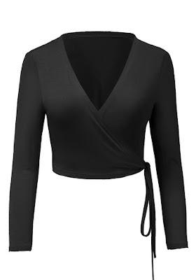 Black Side-Tie Wrap Crop Top | Lookbook Store