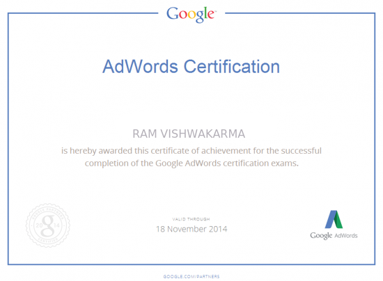 AdWords certification Ram vishwakarma ~ SEO Fixing | SEO Expert In ...