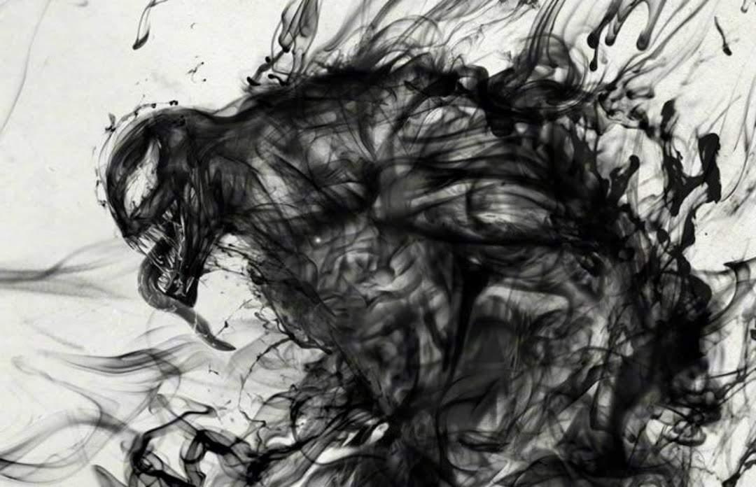 Venom Ink Wash Poster : 墨の黒をエイリアン・シンビオートの「毒液」に見立てた中華版「ヴェノム」の水墨画のポスター ! !
