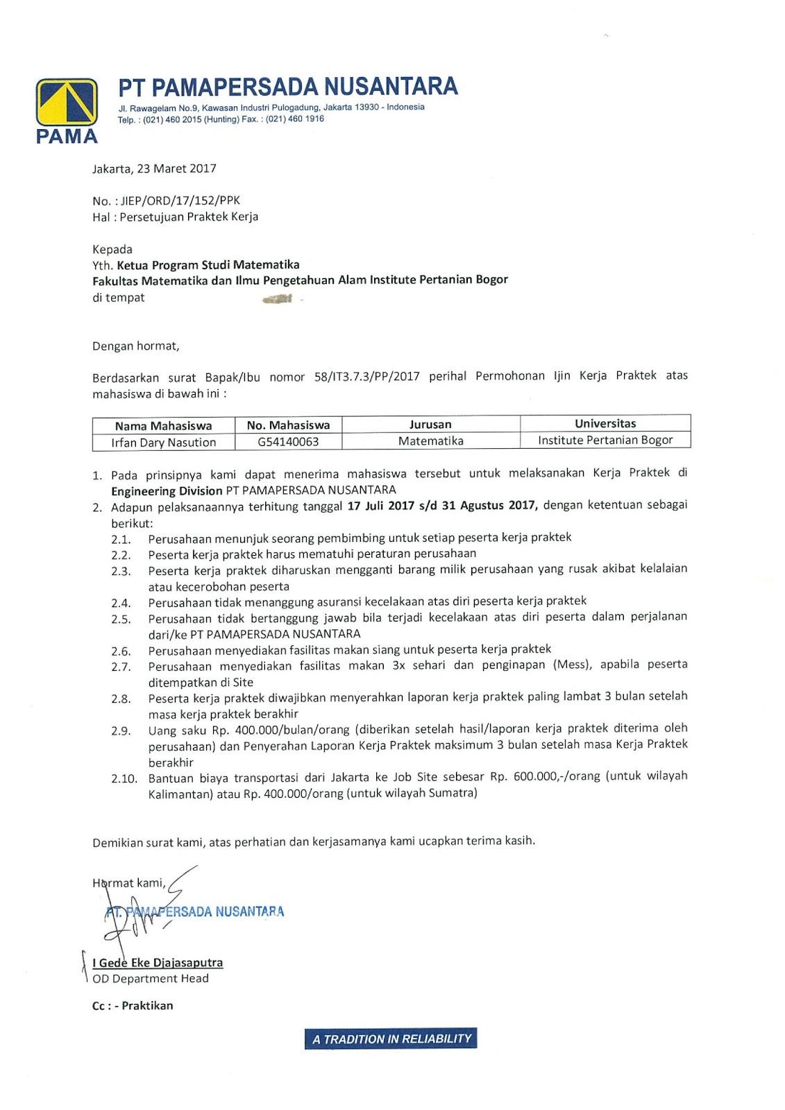 Irfan Dary Nasution Pengajuan Dan Penerimaan Magang Di Pt