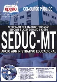 Apostila SEDUC MT 2017 Apoio Administrativo Educacional