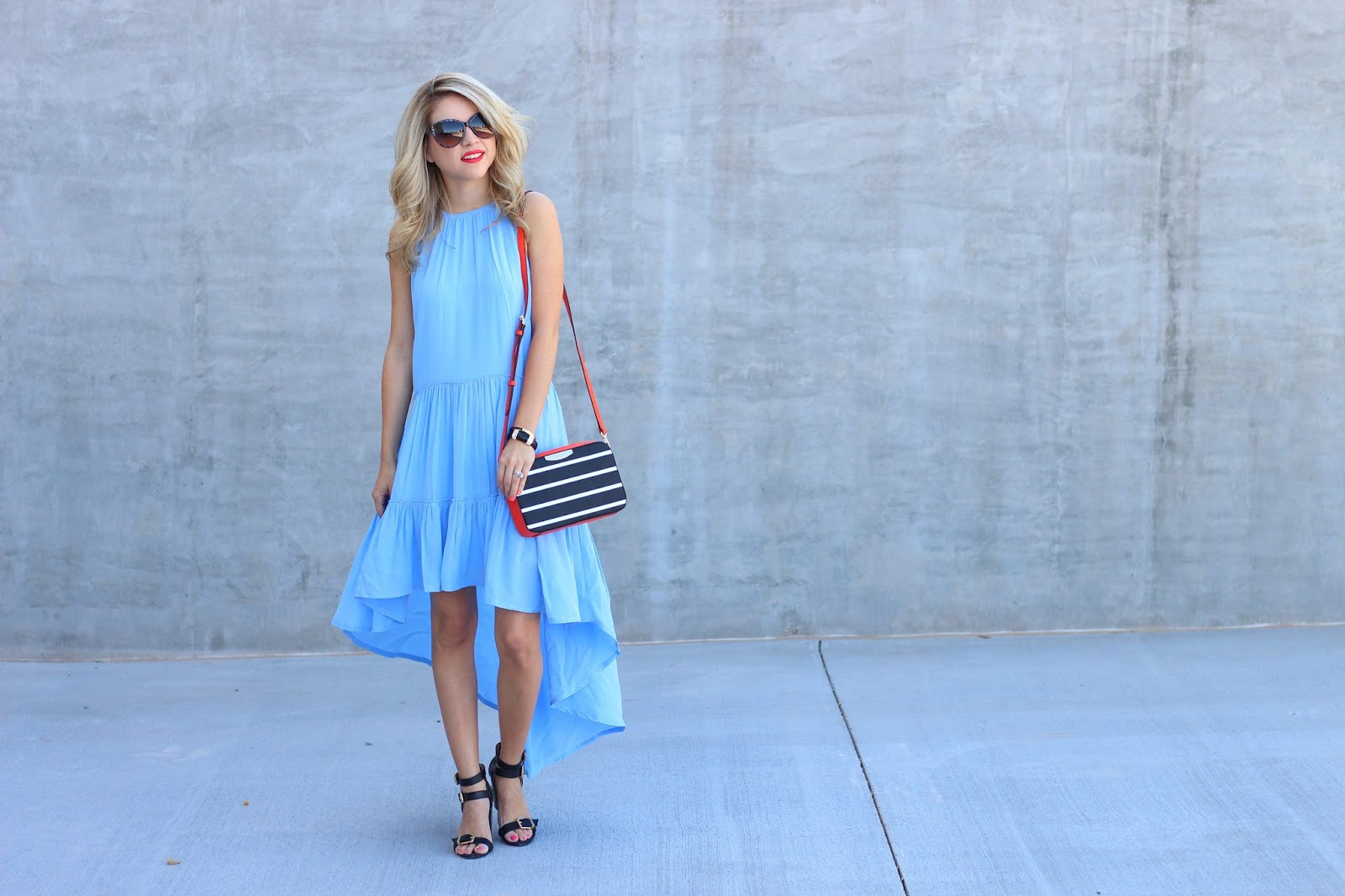 fashion blogger, blue and orange outfit