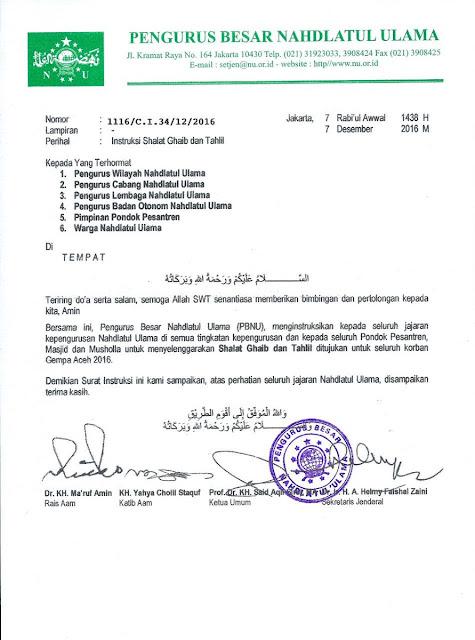 PBNU Imbau Nahdliyin Shalat Ghaib dan Tahlil untuk Korban Gempa Aceh